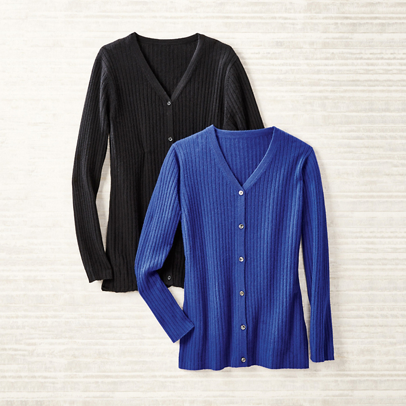 Ribbed Cashmere V-Neck Cardigan