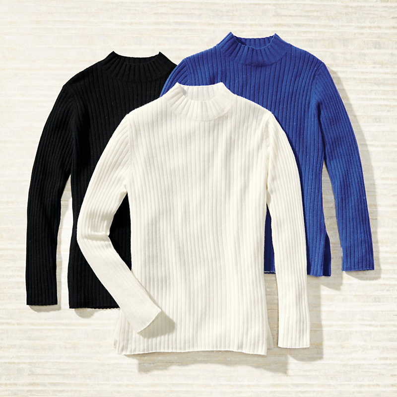 Ribbed Cashmere Mockneck Sweater