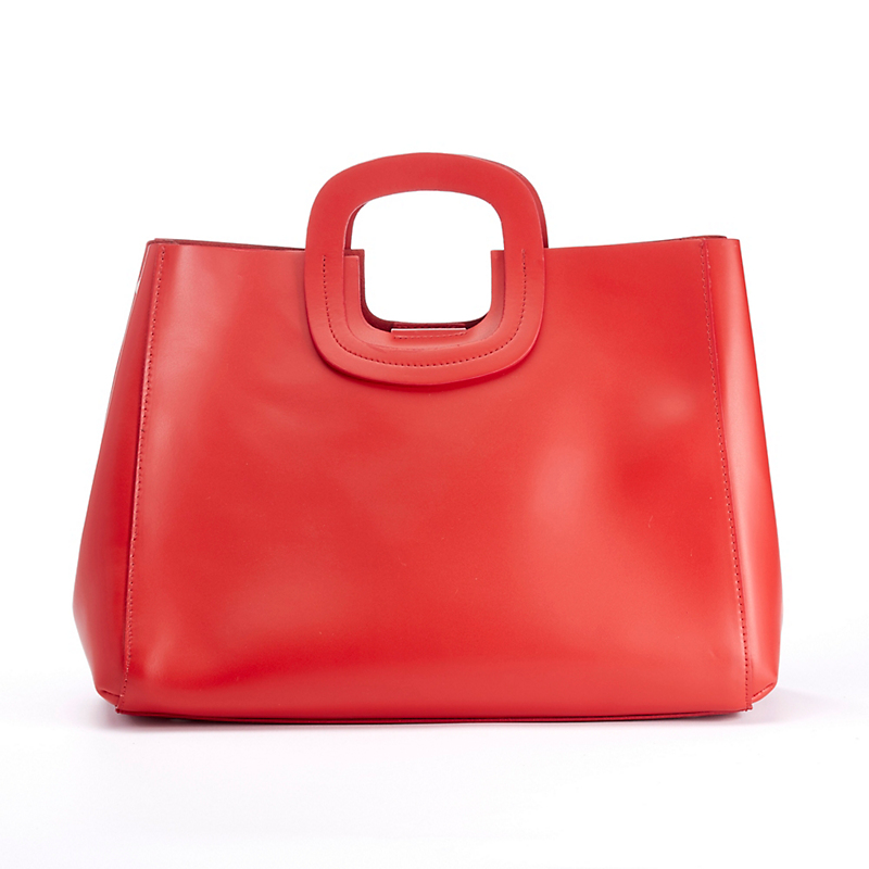 Monaco Leather Handbag, Red