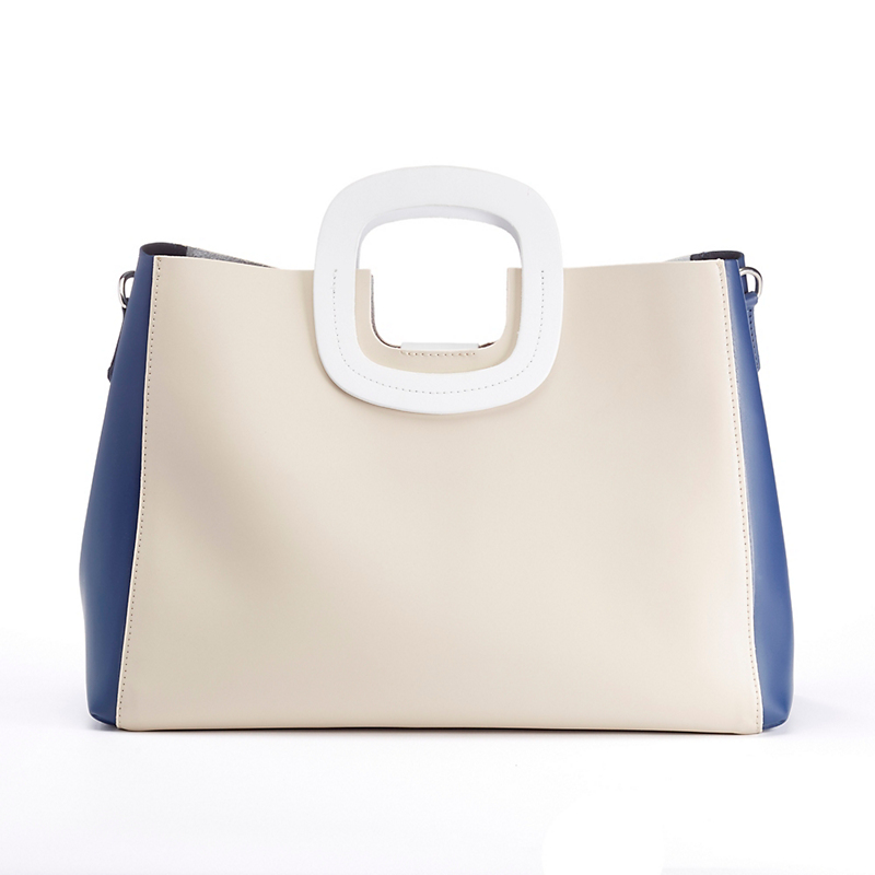 Monaco Leather Handbag, Navy