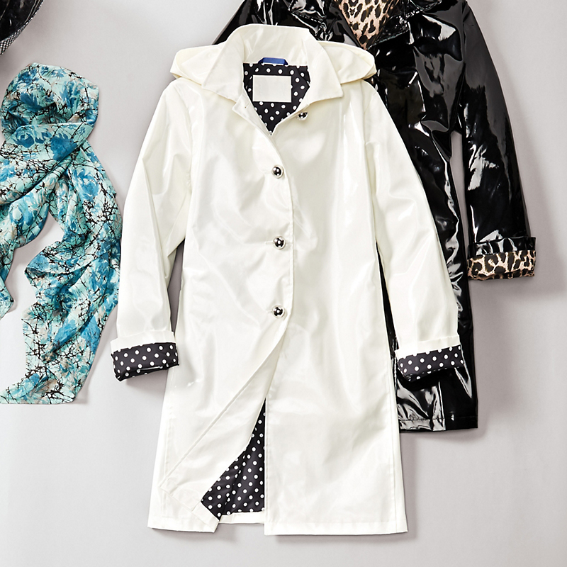 Jane Post Patent Raincoat, White
