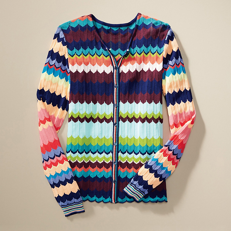 Multicolor Wave Cardigan