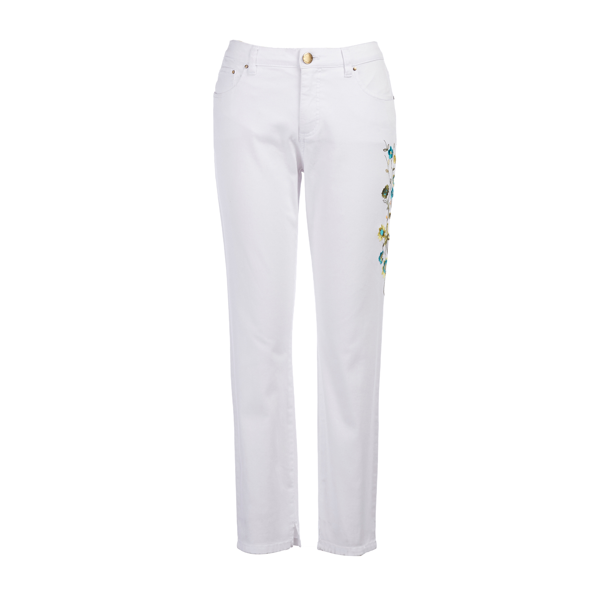 Embroidered White Denim