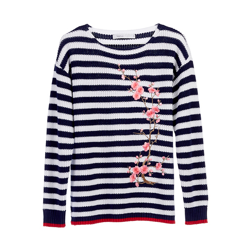 Striped Cherry Blossom Sweater