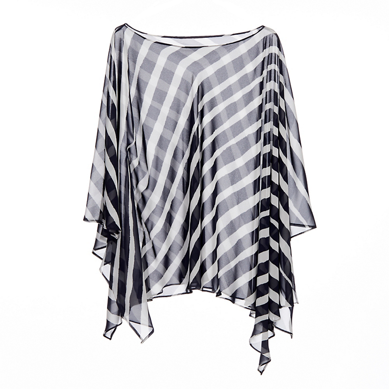Sheer Stripe Poncho