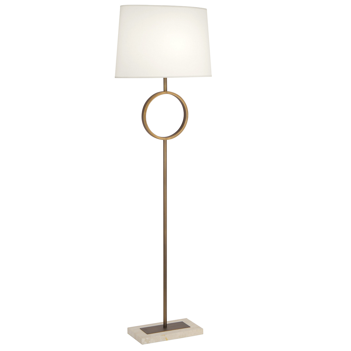 Logan Floor Lamp, Polished Nickel/White
