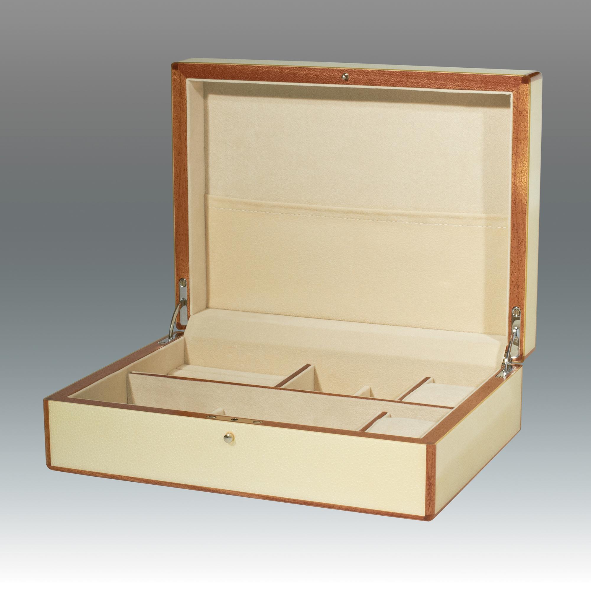 Faux Shagreen Jewelry Box White Gumps