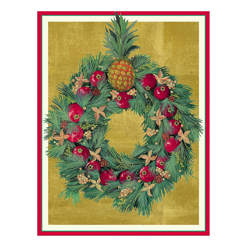 Caspari Pomagranate Wreath Cards