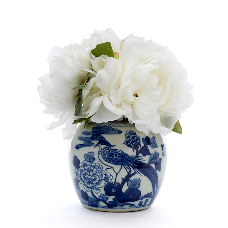 White Peonies In Blue & White Vase