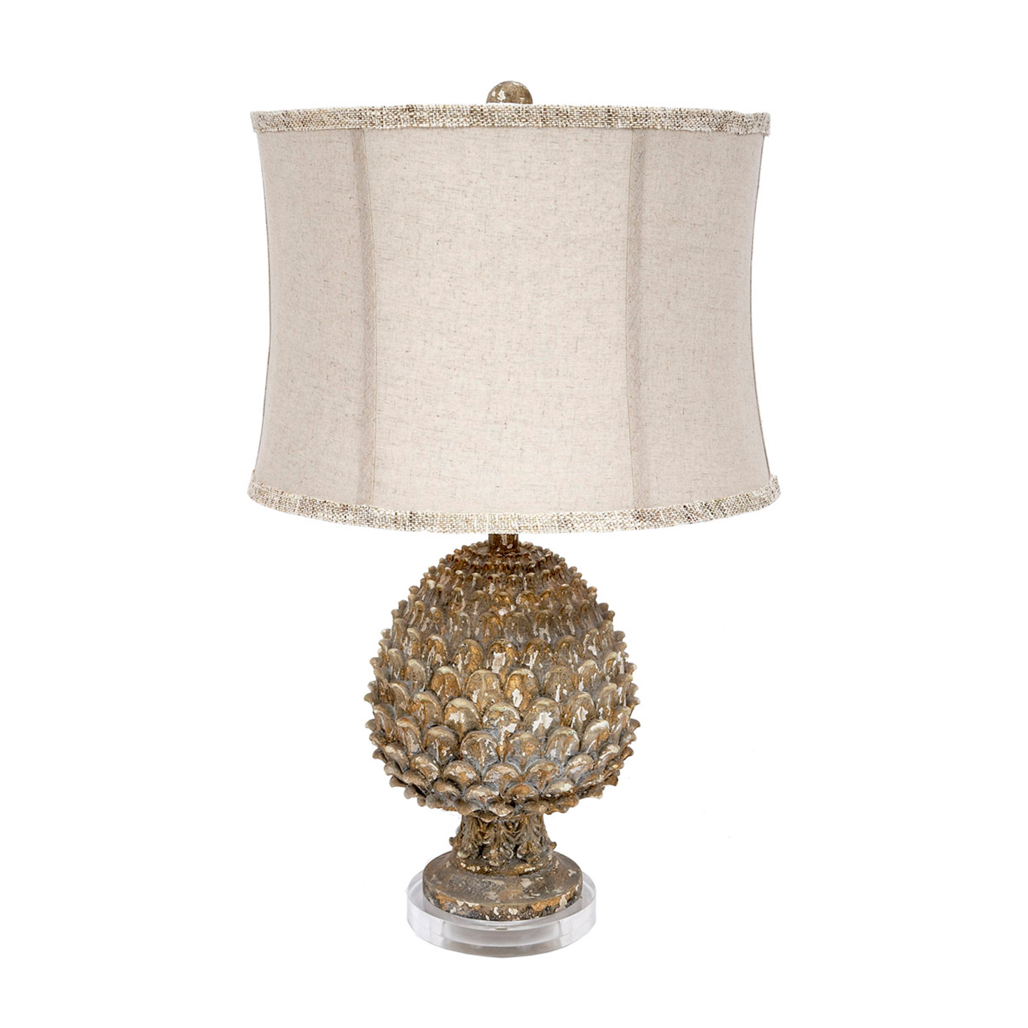 Whitney Aged Pineapple Lamp with Linen Shade