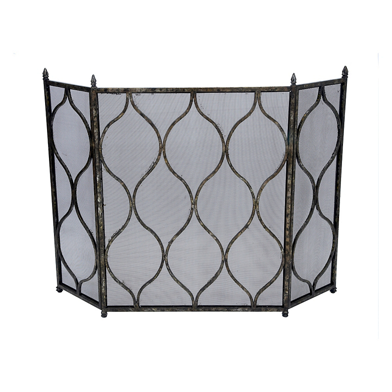 Antique Silver & Black Scott Fireplace Screen