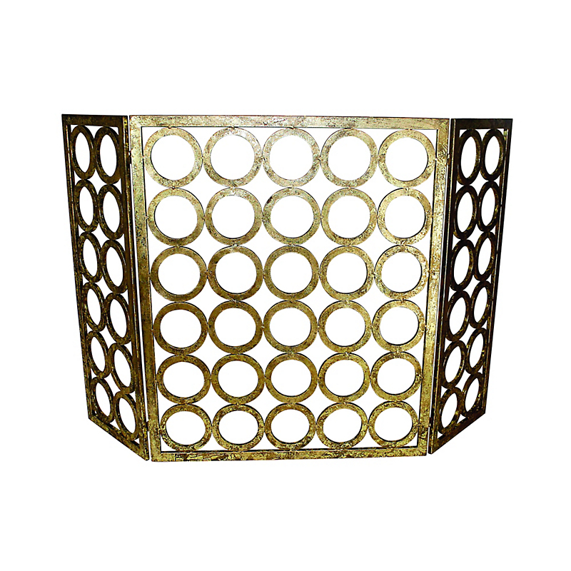 Iron Circle Three-Panel Fireplace Screen