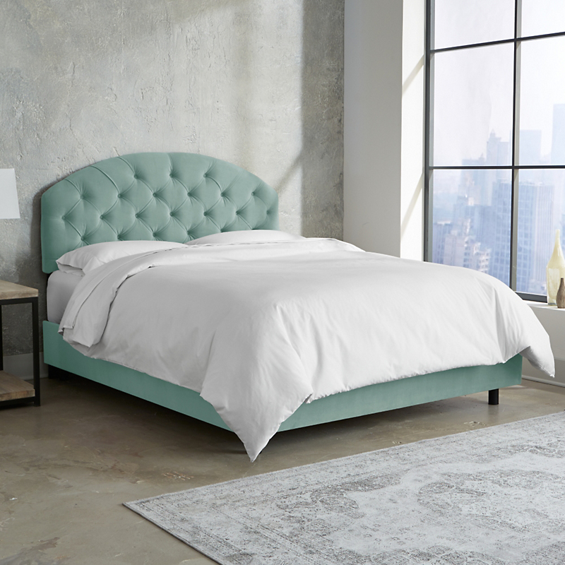 Velvet Tufted Arched Bed