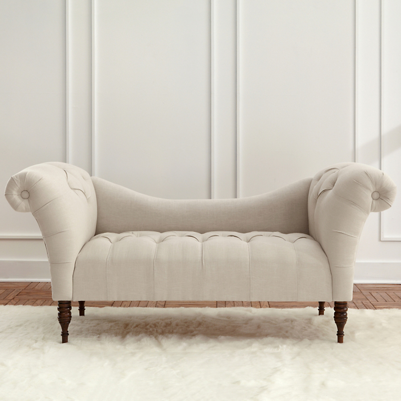 Linen Tufted Chaise Lounge