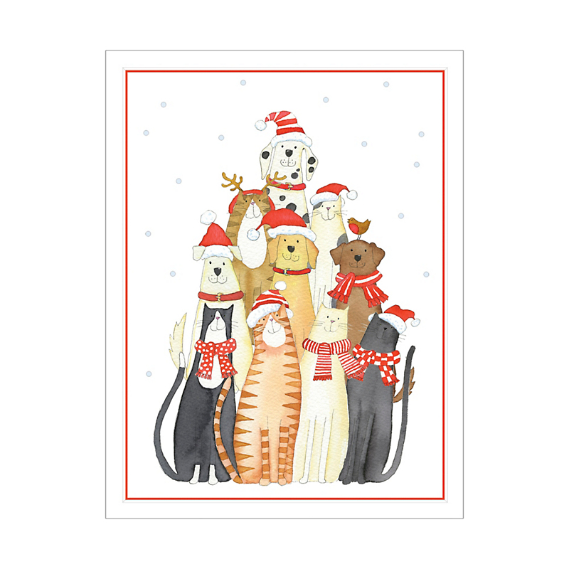 Caspari Dogs And Cats Cards, Set of 10
