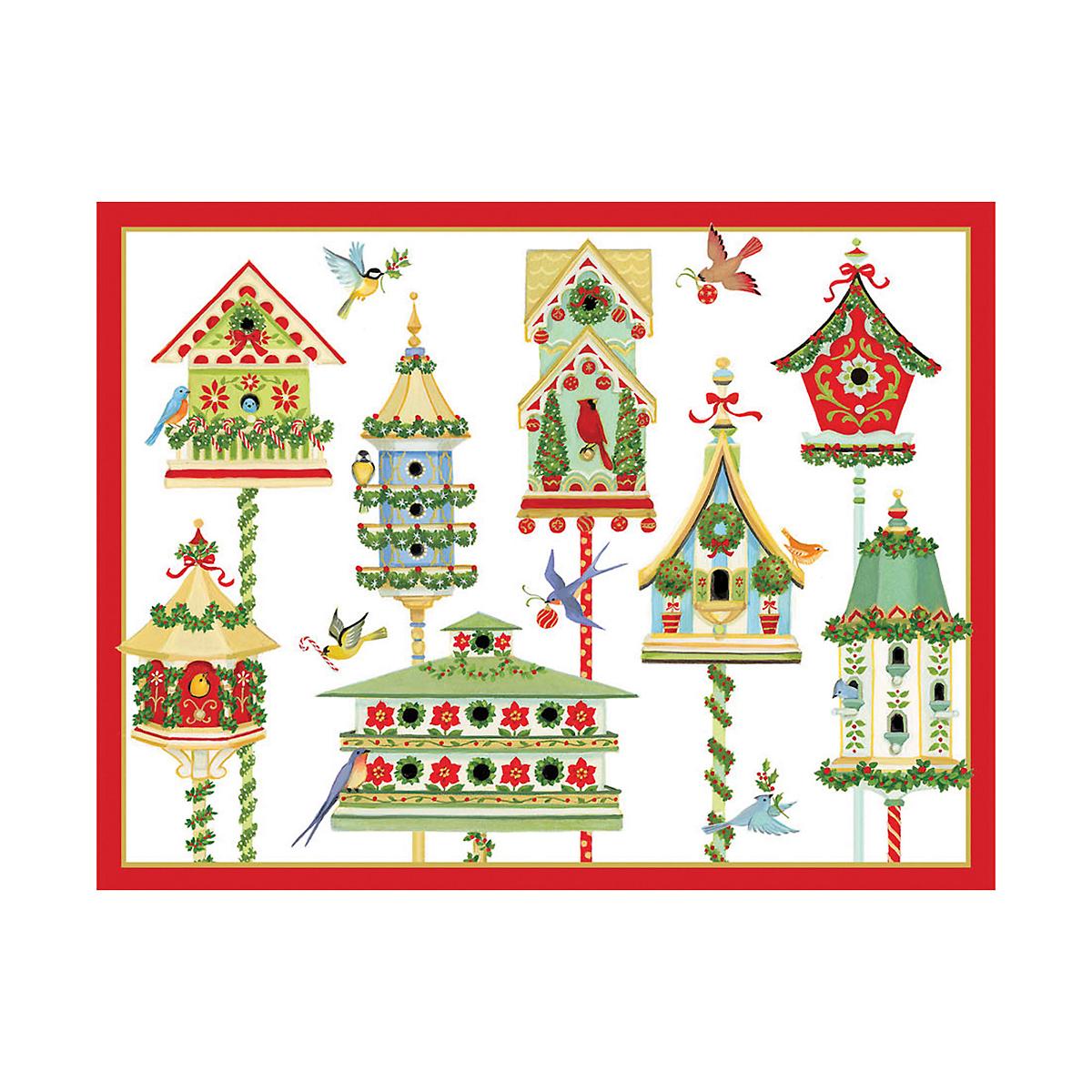 Caspari Christmas Birdhouses Cards, Set of 16 | Gump's
