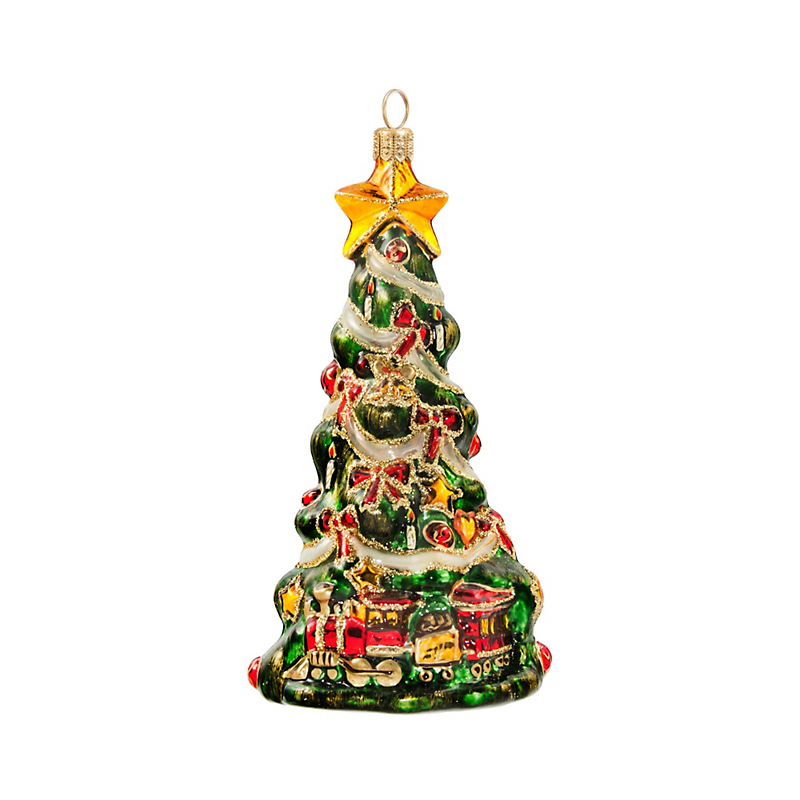 Christmas Tree with Train Christmas Ornament