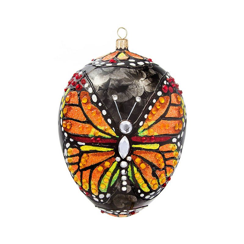 Monarch Butterfly Jeweled Egg Christmas Ornament
