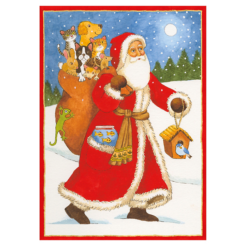 Caspari Santa with Bag Of Animals Cards, Set of 16