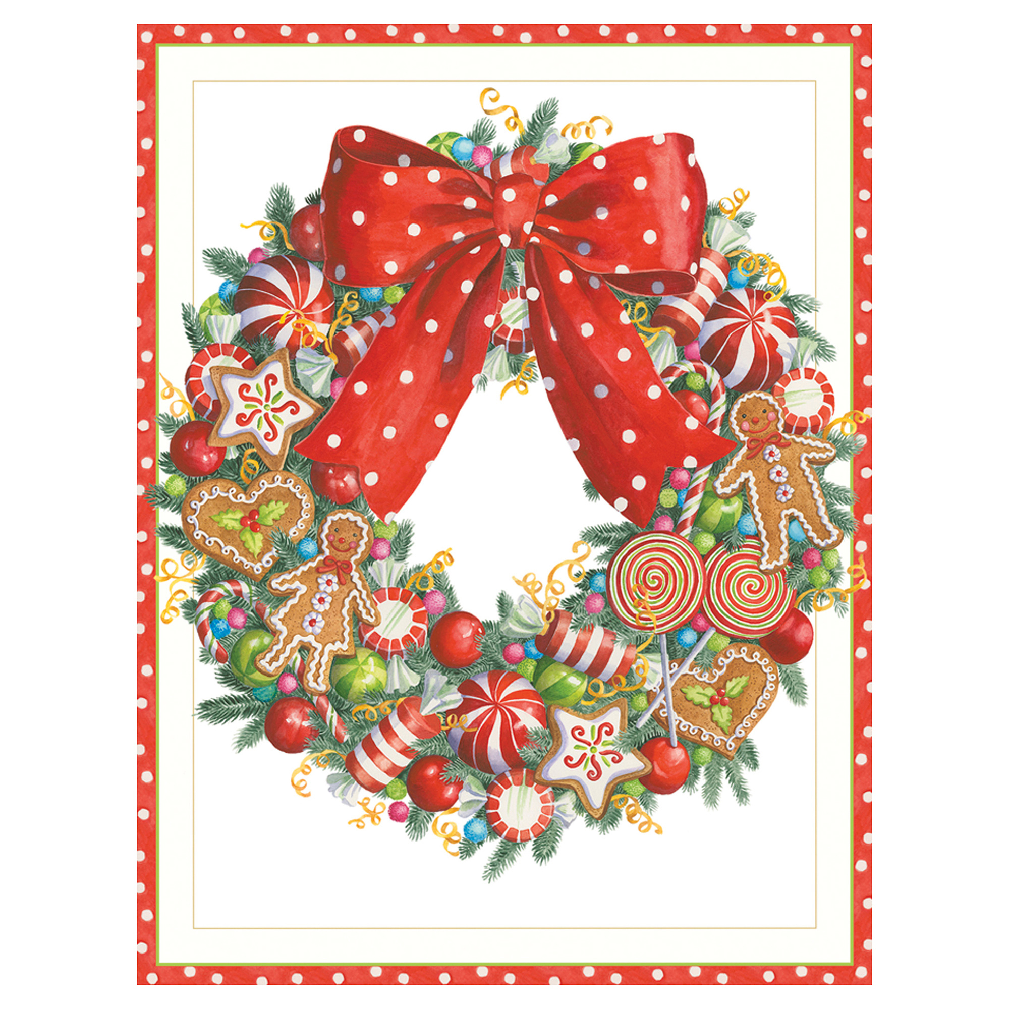 Caspari Candy Wreath Cards, Set of 16