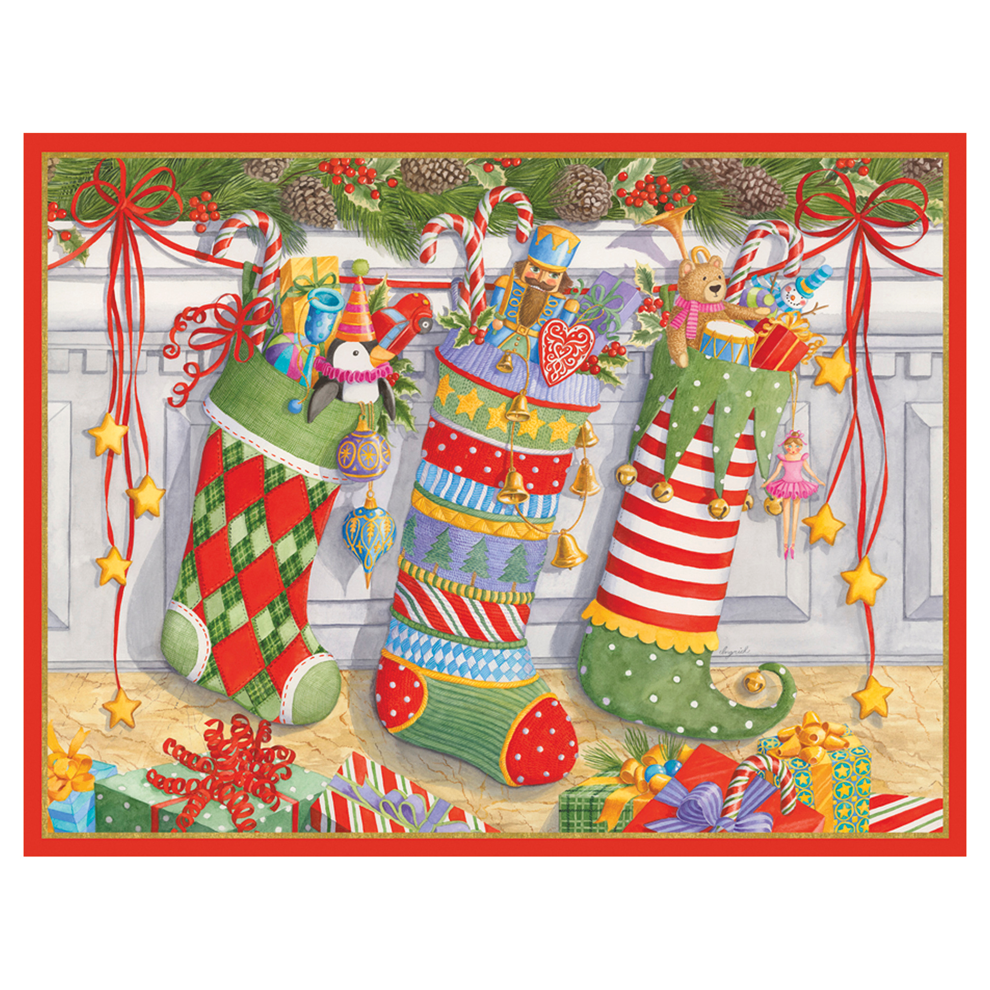 Caspari Three Stockings Cards, Set of 16