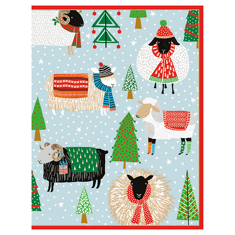 Caspari Warm & Woolly Cards, Set of 16