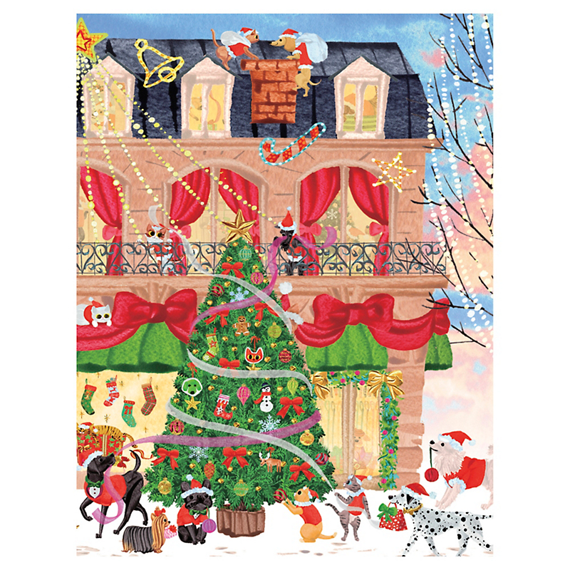Caspari Christmas Shopping Cards, Set of 16