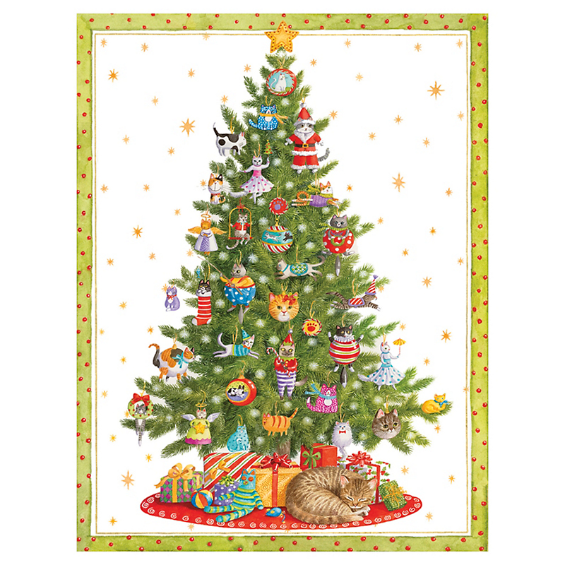 Caspari Cat Christmas Tree Cards, Set of 16