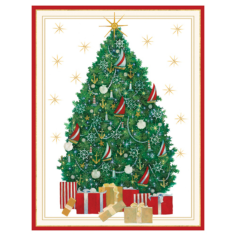 Caspari Nautical Tree Cards, Set of 16
