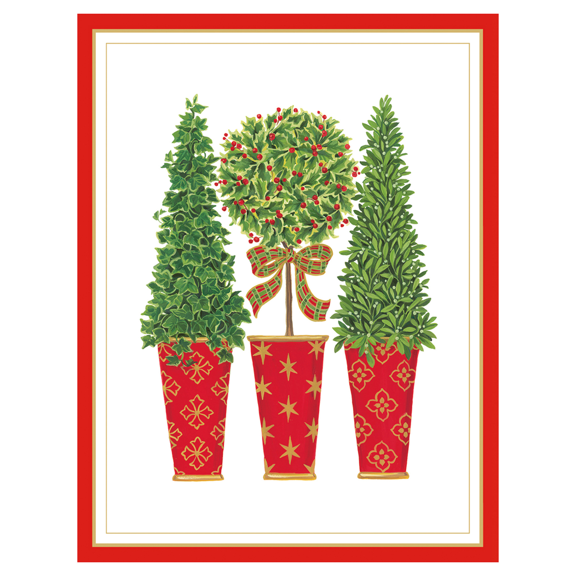 Caspari Topiaries Embossed Cards, Set of 10
