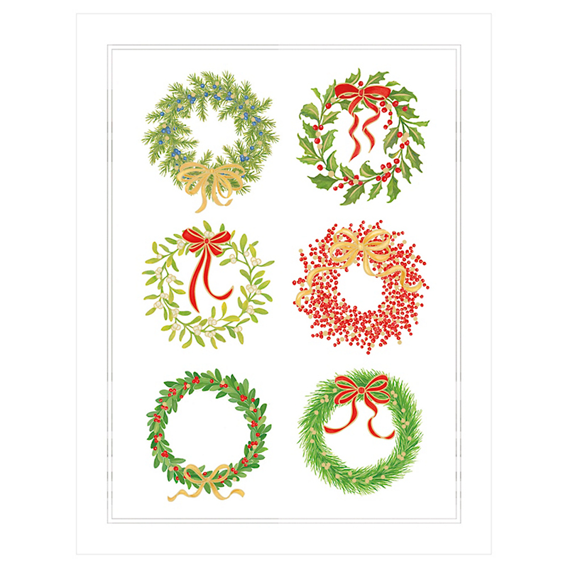 Caspari Christmas Wreaths Cards, Set of 10
