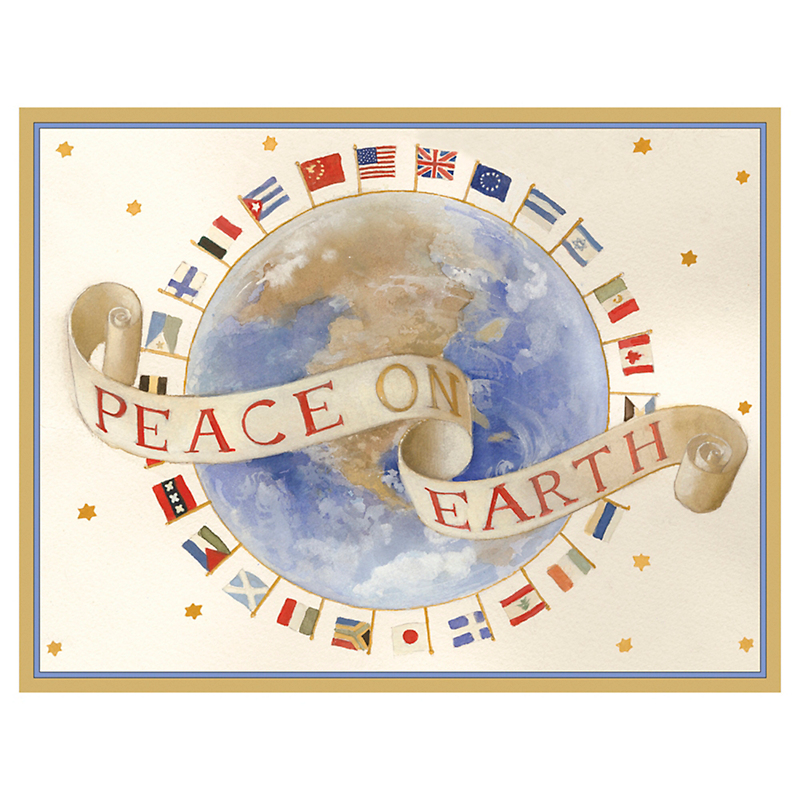 Caspari Peace On Earth Cards, Set of 16