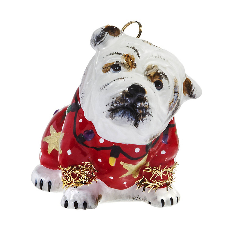 Bulldog with Ugly Sweater Christmas Ornament
