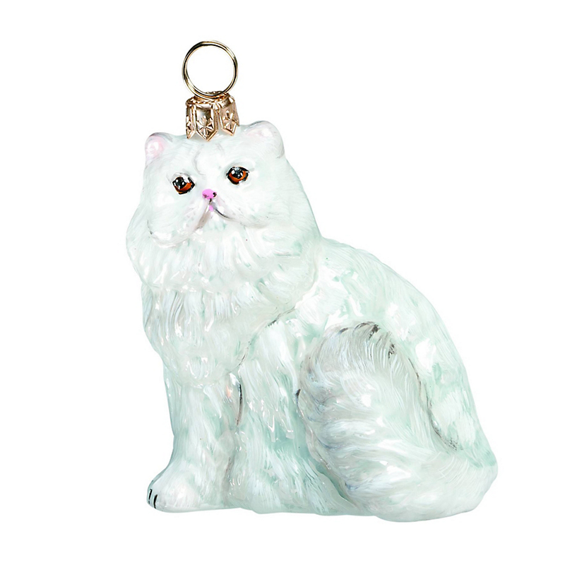 White Persian Cat Christmas Ornament