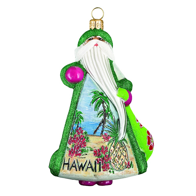 Aloha Hawaiian Santa Christmas Ornament