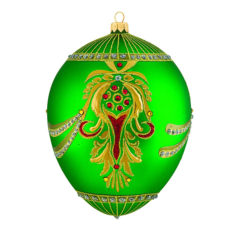 Emerald Jeweled Egg Christmas Ornament