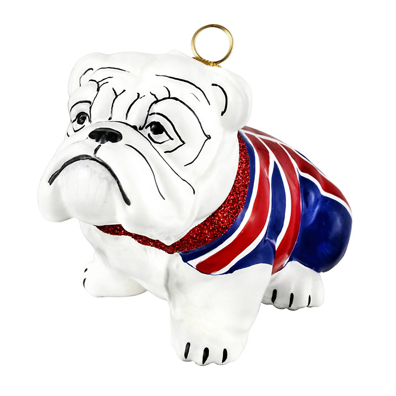 Bulldog with Union Jack Christmas Ornament
