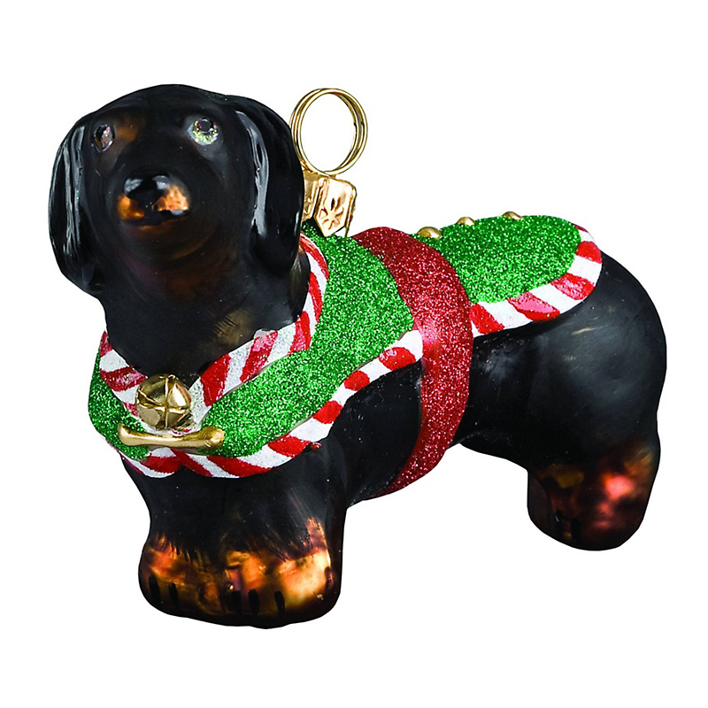 Santa's Little Yelper Dachshund Christmas Ornament