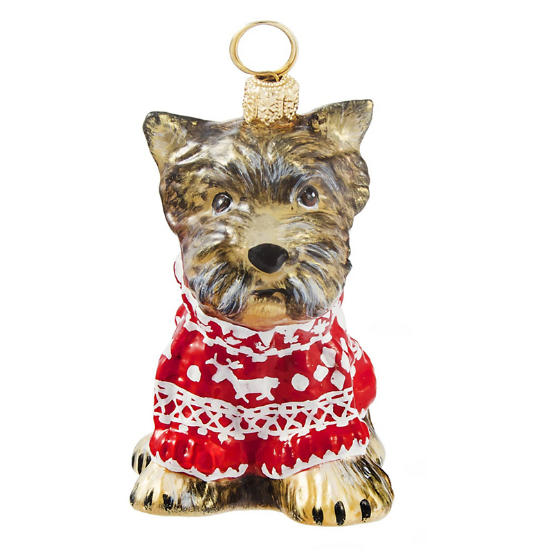 Yorkshire Terrier with Nordic Sweater Christmas Ornament