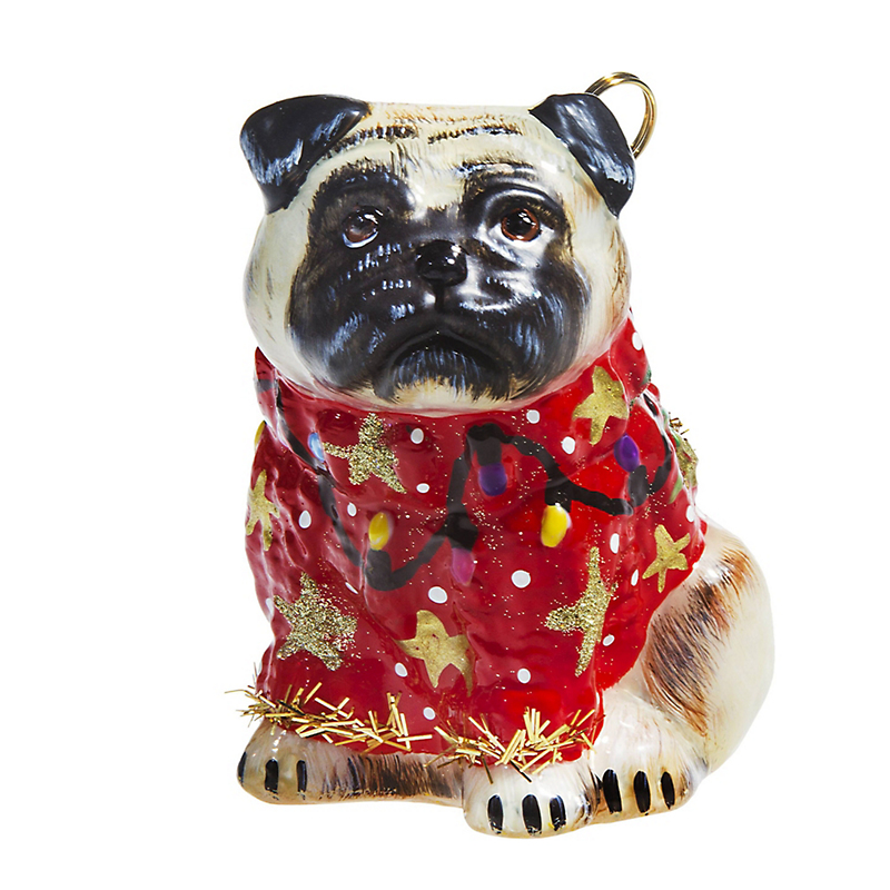 Pug Fawn with Ugly Sweater Christmas Ornament