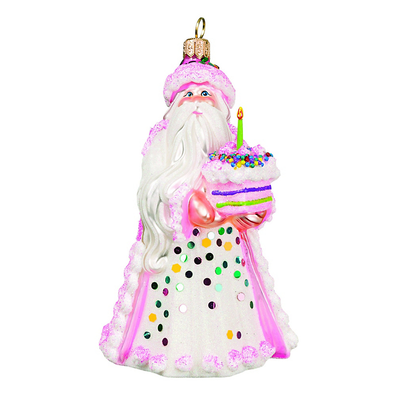 Birthday Cake Santa Christmas Ornament