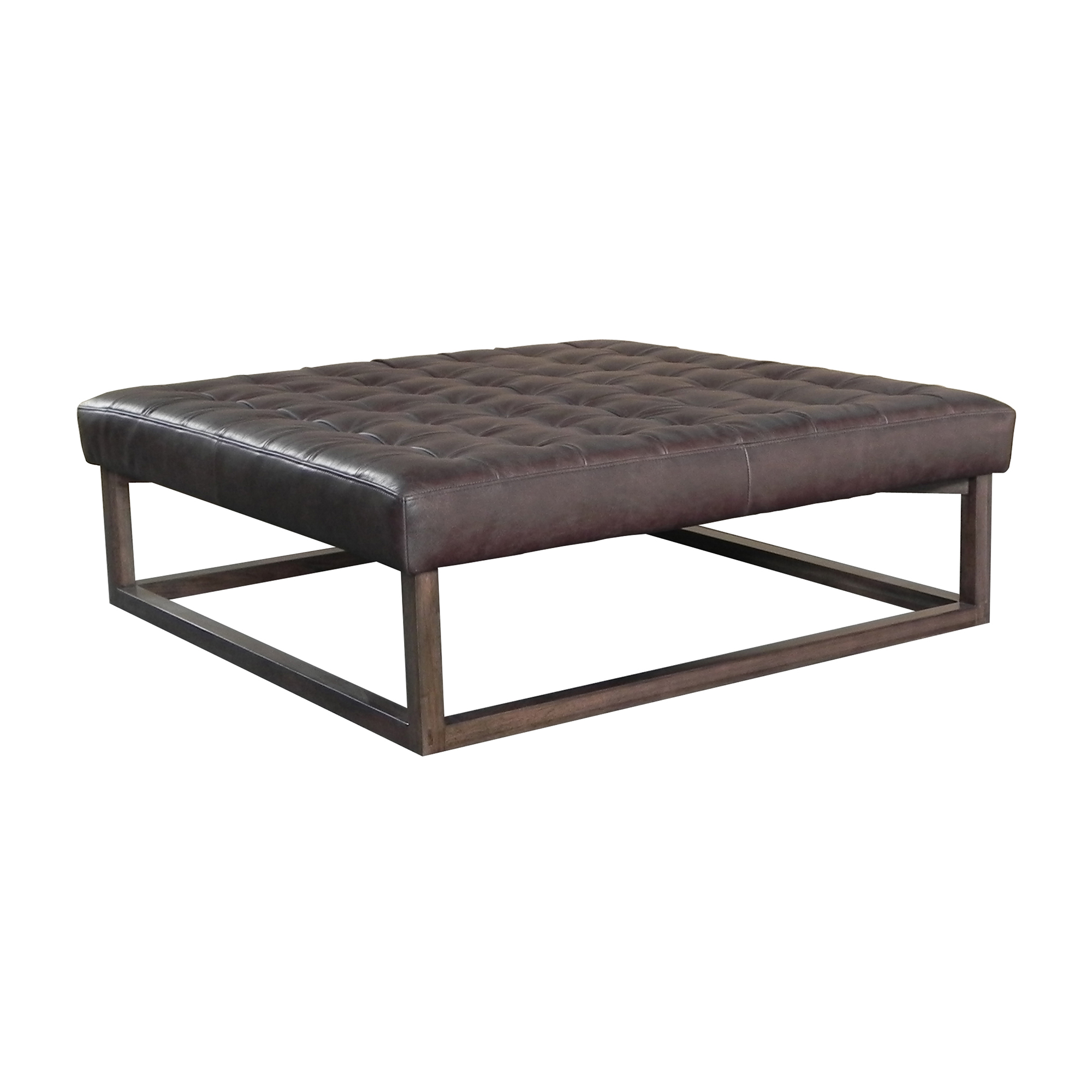 Maria Yee Harold Allure Ottoman, Mocha Leather & Shiitake Finish