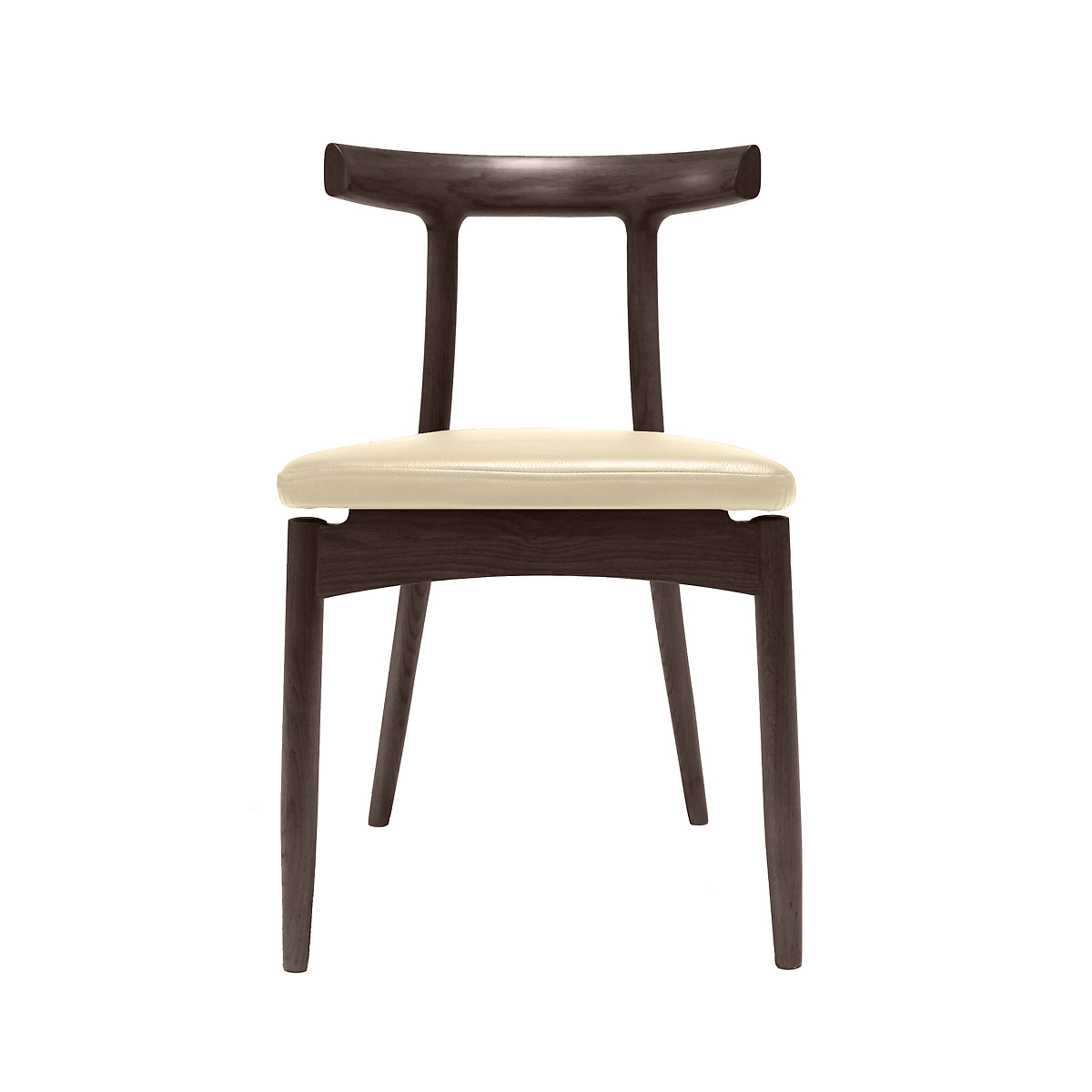Maria Yee Arial Leather Horn Chair, Sand Leather & Ebony Finish