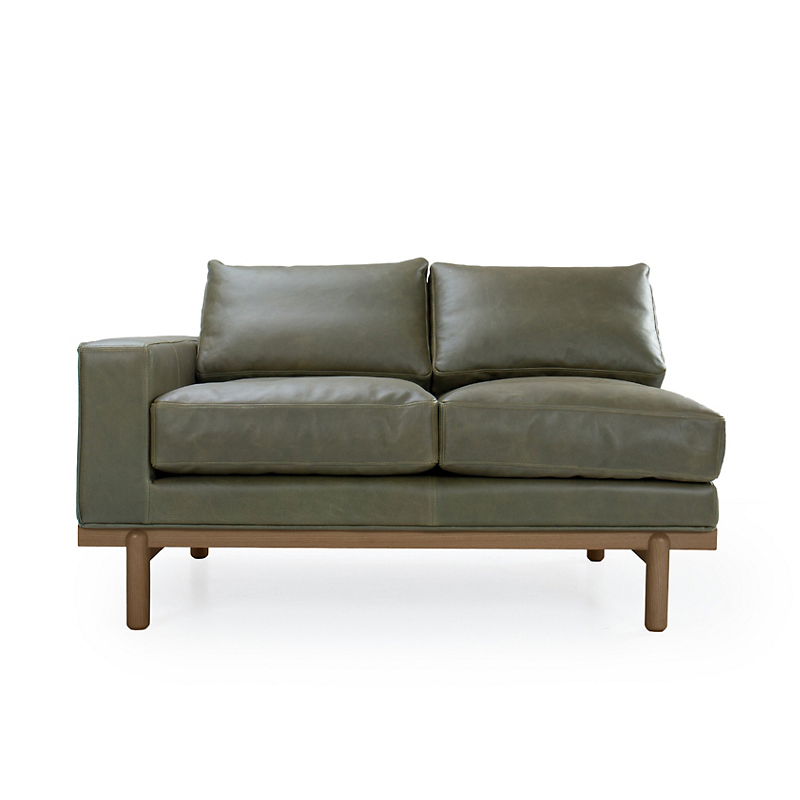 Maria Yee Cantor Left-Arm Sofa, Fern Leather & Shiitake Finish