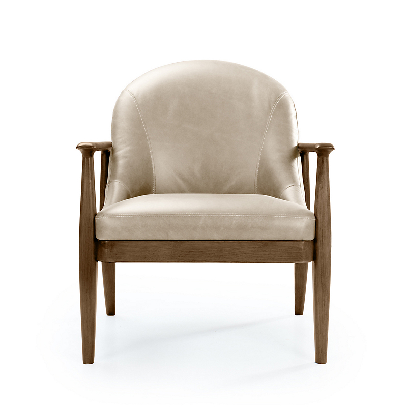 Maria Yee Elena Leather Chair, Cream & Shiitake
