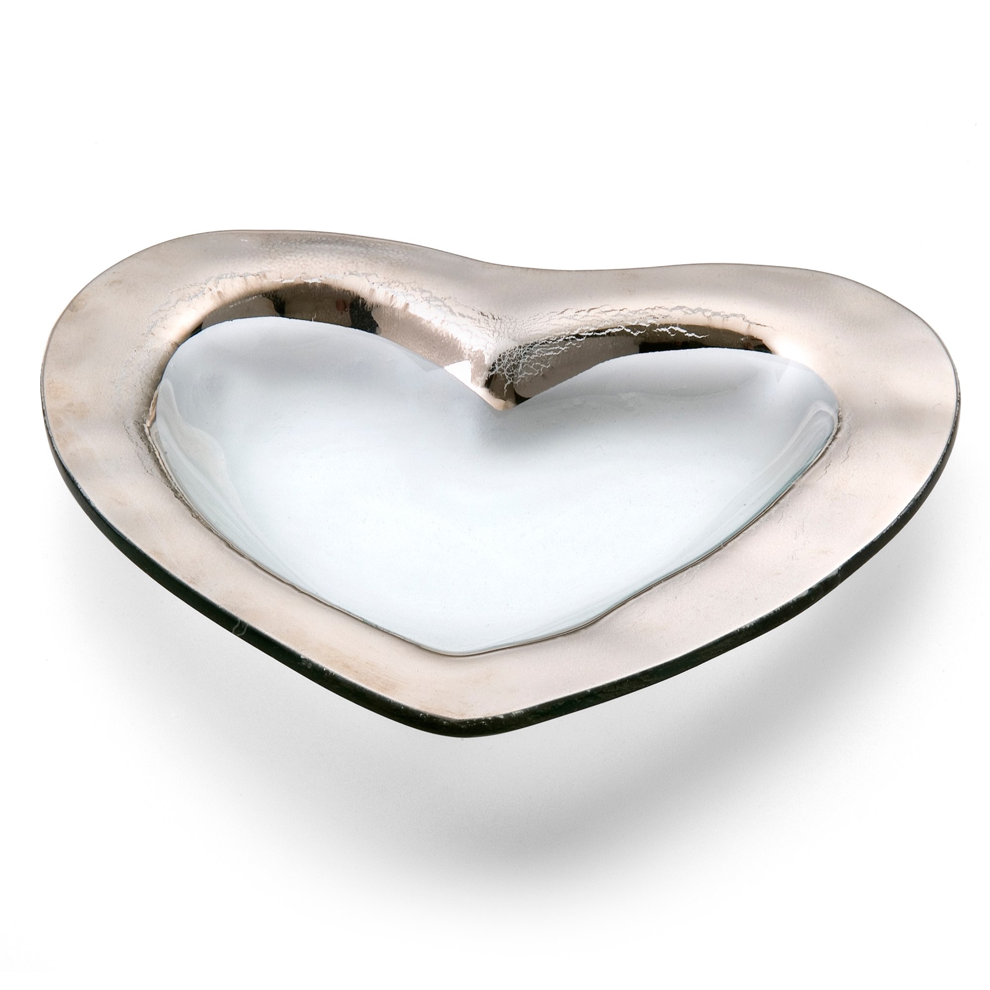 Annieglass Wide Rim Heart Bowl, Platinum
