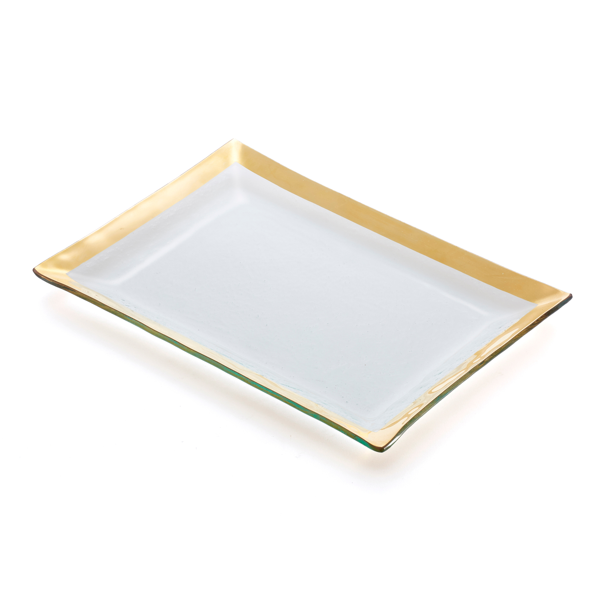 Annieglass Gold Roman Antique Martini Tray