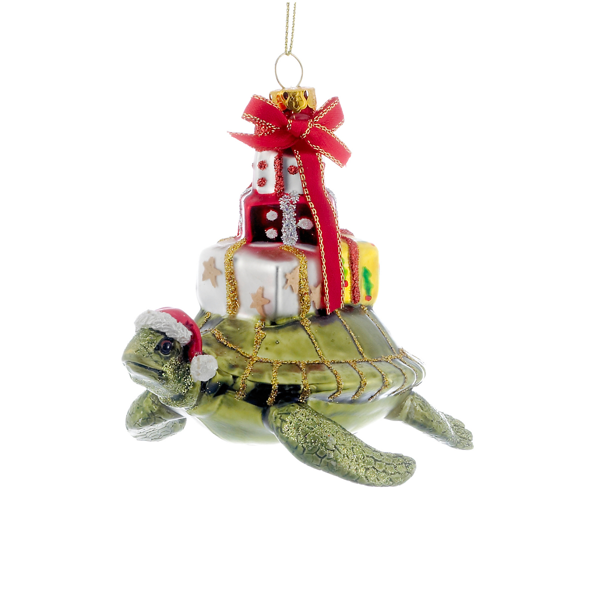 Sea Turtle with Gifts Christmas Ornament | Gump's