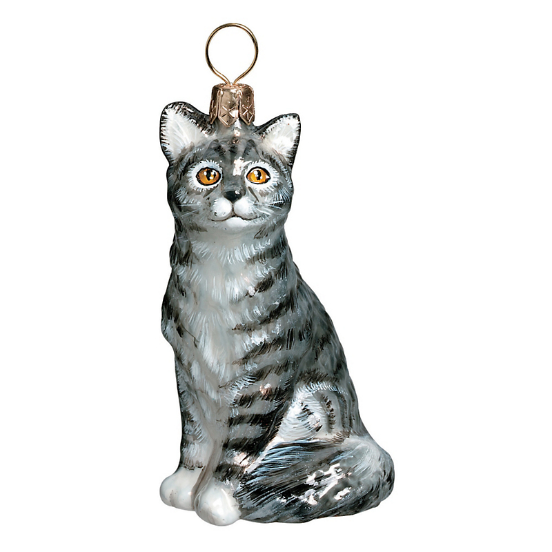 Grey Tabby Christmas Ornament