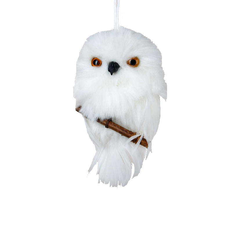 White Owl with Branch Christmas Ornament